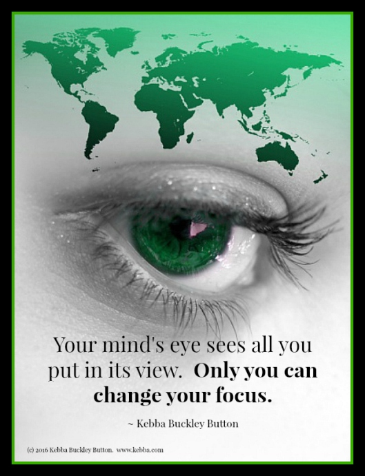 Stress, Upbeat Living, change your focus, your mind's eye, Kebba Buckley Button