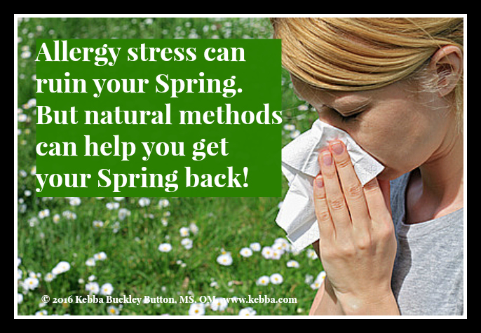 stress, allergy, allergy stress, pollen, Upbeat Living, Kebba Buckley Button